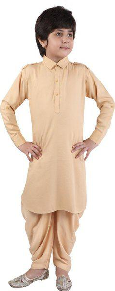 Z&G TRENDS Boys Festive & Party Pathani Suit Set(Beige Pack of 1)