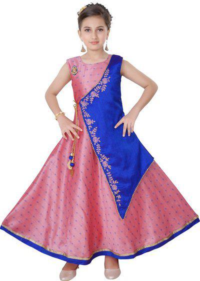 Saarah Girls Maxi/Full Length Festive/Wedding Dress(Pink, Sleeveless)