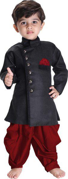 JBN Creation Baby Boy's Cotton Blend Sherwani Style Kurta Set (Black, 0-6 Months)