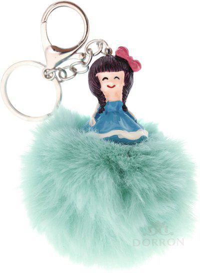 DORRON Stylish Cute Girl Design Fluffy Faux Fur Pom Pom Keychain & Keyring for Car Key/Ladies Bag/Purse / Suit case (Green) Key Chain