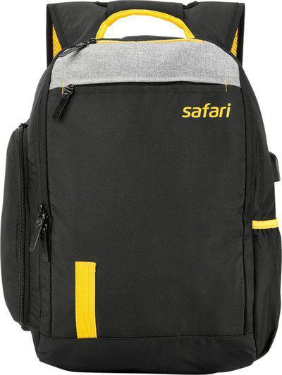 Safari Black Polyester Backpack