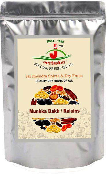 Jai Jinendra Dry Fruits Raisins/Daakh/ Kishmish with Seeds Large Munakka Superior Quality - 900 gm Raisins(900 g, Pouch)