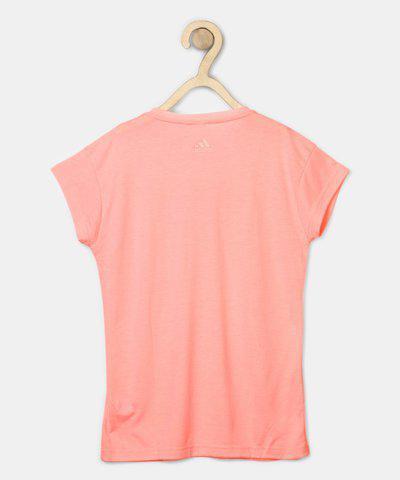 ADIDAS Girls Printed Polyeseter Viscose Blend T Shirt(Pink, Pack of 1)