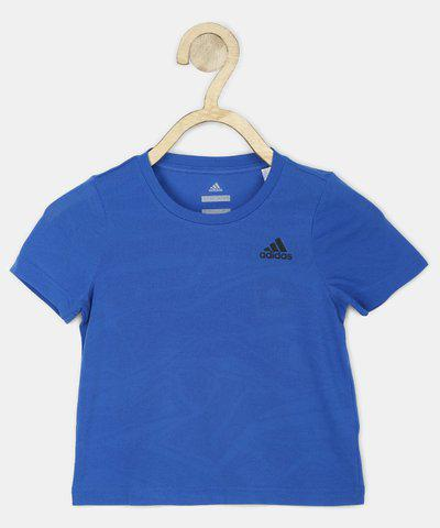 ADIDAS Girls Solid Polycotton T Shirt(Blue, Pack of 1)