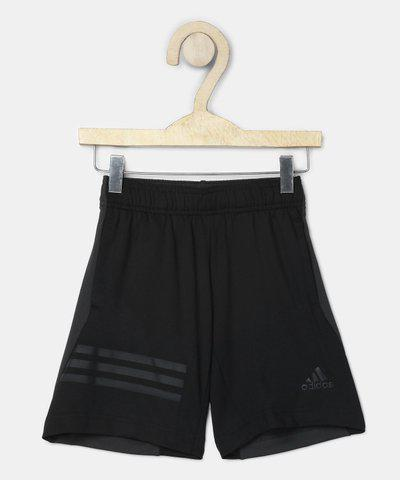 ADIDAS Short For Boys Sports Solid Polycotton(Black, Pack of 1)