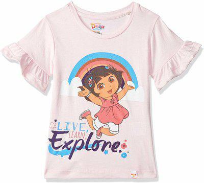 Dora Girls Graphic Print Cotton Blend T Shirt(Pink, Pack of 1)
