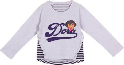 Dora Girls Graphic Print Cotton Blend T Shirt(Grey, Pack of 1)
