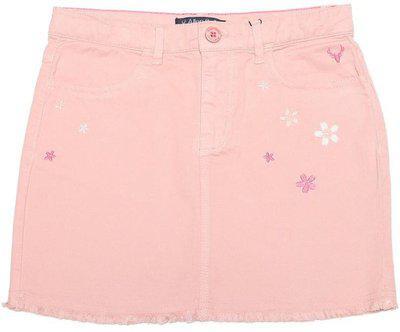 Allen Solly Embroidered Girls Regular Pink Skirt