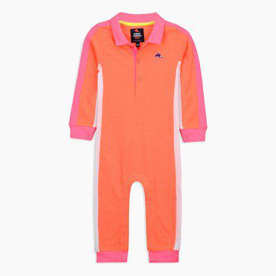Cherry Crumble California Shaded Bodysuit for Unisex Full Sleeves (Orange & Pink, 12-18 Months)