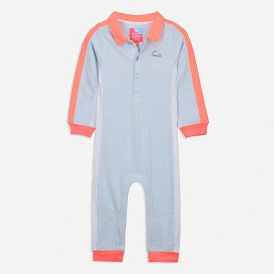 Cherry Crumble California Flip Bodysuit for Unisex Full Sleeves (Light Blue & Pink, 12-18 Months)