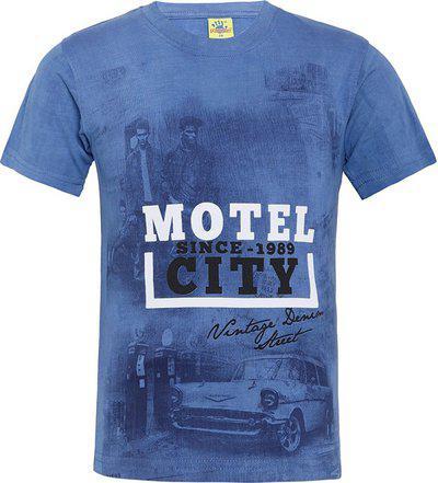Punkster Boys Printed Cotton Blend T Shirt(Blue, Pack of 1)