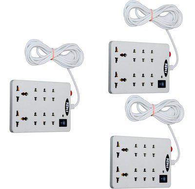 NXT POWER 8+1 (3 PCS) 8 Socket Surge Protector(White)