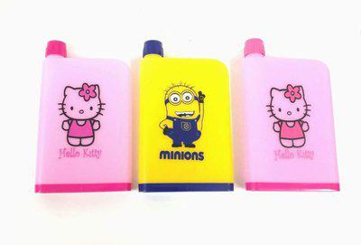 Shopkooky Mix Print Notebook Shape Water Bottle pack of 3 380 ml Bottle(Pack of 3, Multicolor)