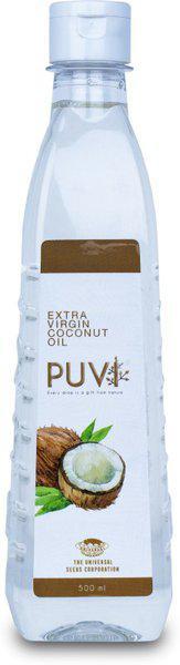 Puvi Extra Virgin Cold Pressed Coconut Oil 0.5L Coconut Oil Plastic Bottle(500 ml)