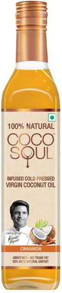 Coco Soul Infused Cold Pressed Virgin Cinnamon Coconut Oil Plastic Bottle(250 ml)