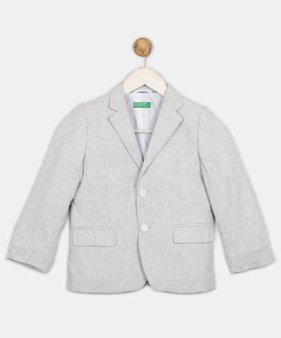 United Colors of Benetton Self Design Single Breasted Casual Boys Blazer(Blue)