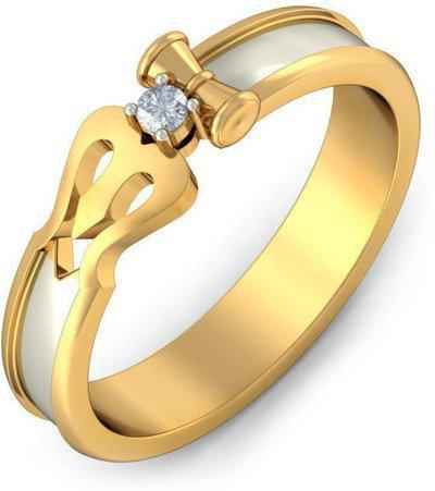 BlueStone The Divine Trishool for Him 18kt Diamond Yellow Gold ring