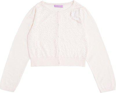 One Friday Solid Round Neck Casual Girls White Sweater