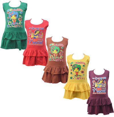 Eazy Trendz Girls Midi/Knee Length Casual Dress(Multicolor, Sleeveless)