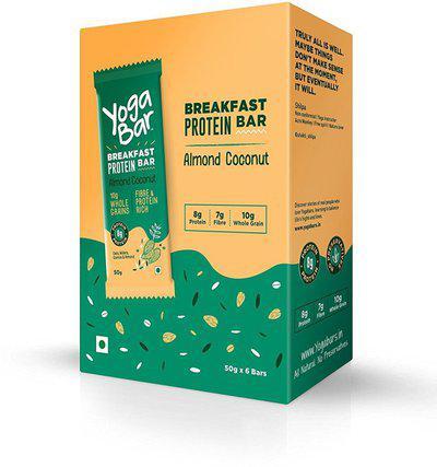 Yogabar Breakfast Protein Almond Coconut Bars - 6 x 50 g(300 g, Box, Pack of 6)