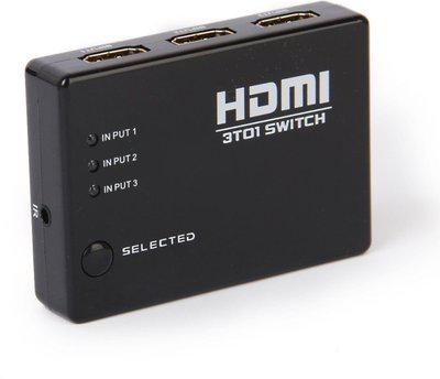 Tobo 3 Port HDMI Switch Box Switcher Splitter 3 In 1 Out High Speed Port Supports 3D 1080P Video HDCP Media Streaming Device(Black)
