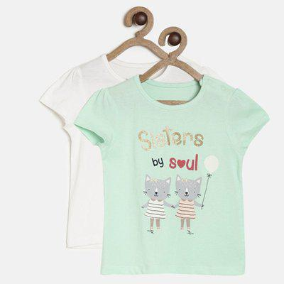 Mini Klub Baby Girls Cotton Blend Top(Multicolor, Pack of 2)