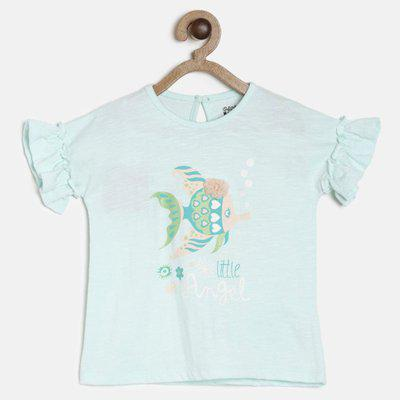 Mini Klub Baby Girls Cotton Blend Top(Light Blue, Pack of 1)