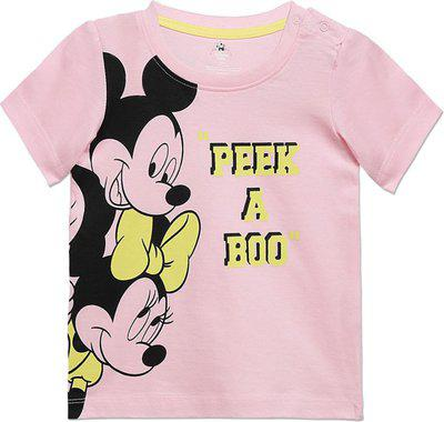 Disney Boys Graphic Print Cotton Blend T Shirt(Pink, Pack of 1)