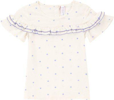U.S. Polo Assn. Kids Girls Cotton Rayon Blend Ruffled Top(White, Pack of 1)