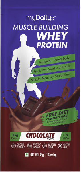 myDaily Whey Protein with added Glutamine ( Chocolate)15 Serving in Sachet. Free Diet Plan Whey Protein(510 g, Chocolate)