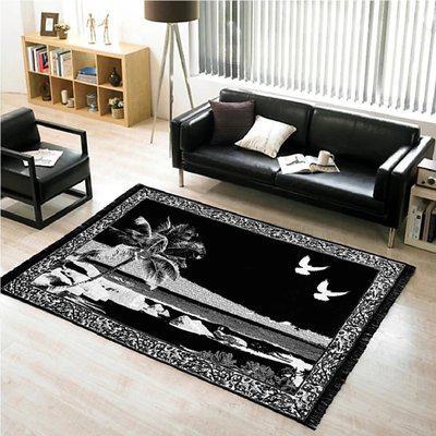 Skyloom Black Cotton Carpet(153 cm X 214 cm)