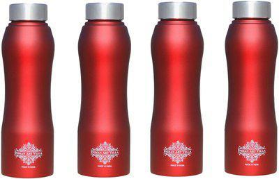 IndianArtVilla Set Of Steel Bottle Ergonomic Design With Steel Cap, Red Matt 750 ml Bottle(Pack of 4, Red)