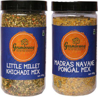 Graminway Gluten Free Madras Navane Pongal Mix & Gluten Free Little Millet Khichadi Mix 900 g(Pack of 2)