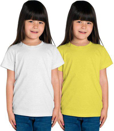 American-Elm Girls Solid Cotton Blend T Shirt(Multicolor, Pack of 2)