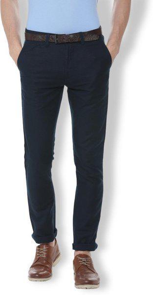 Van Heusen Slim Fit Men Dark Blue Trousers