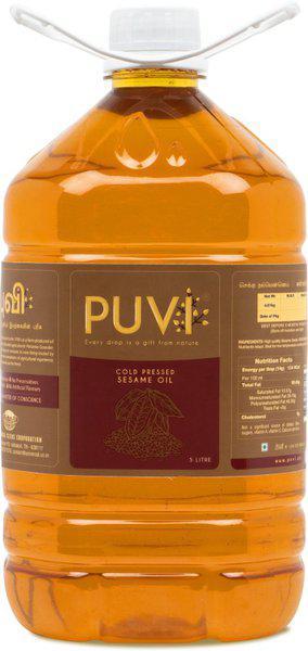 Puvi Cold Pressed Gingelly/Sesame Oil (Virgin, Chekku/Ghani) - 5 Litre Sesame Oil Plastic Bottle(5 L)
