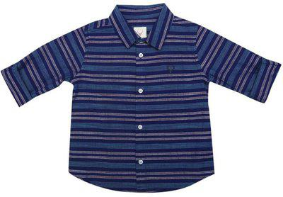 Allen Solly Baby Boys Striped Casual Blue Shirt