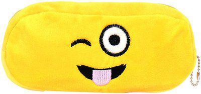 24x7eMall tounge emoji Art Canvas Pencil Box(Set of 1, Yellow)