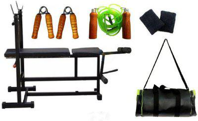SPANCO 3 in1 Double Support Leg Curl Bench + Skipping Rope + Hand Gripper + Duffle Bag + Wristband Gym & Fitness Kit