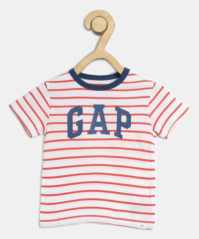 GAP Boys Striped Cotton Blend T Shirt(Pink, Pack of 1)