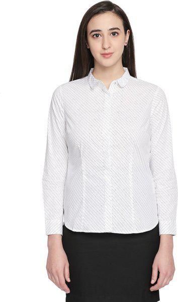 Annabelle By Pantaloons Women Regular Fit Printed ShirtWhite