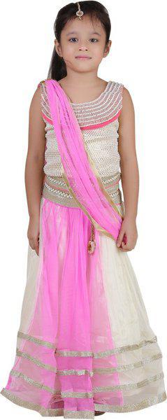Qeboo Girls Lehenga Choli Ethnic Wear Embroidered Lehenga Choli(Pink, Pack of 1)