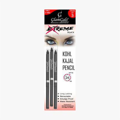 GlamGals Kohl Kajal Pencil Pack of 3(Black, 0.35 g)
