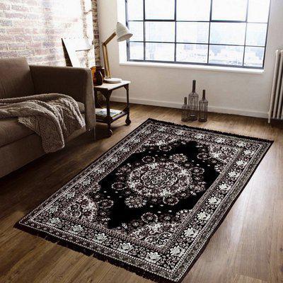 Supreme Home Collective Black Polyester Carpet(138 cm X 205 cm)
