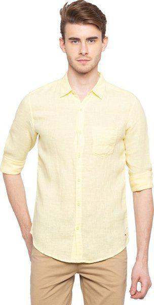 Spykar Men Solid Casual Yellow Shirt