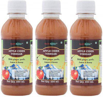 HealthNutriva Apple Cider Vinegar with Ginger, Garlic , Lemon & Honey(pack of 3) Vinegar(750 ml, Pack of 3)