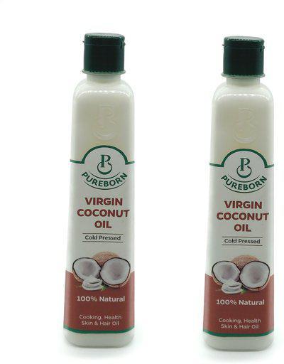PUREBORN COLD PRESSED Coconut Oil Plastic Bottle(250 ml)
