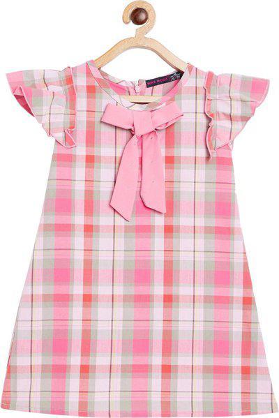 Nins Moda Girls Mini/Short Casual Dress(Pink, Short Sleeve)