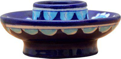 om craft villa Pottery 1 - Cup Candle Holder(Blue, Pack of 1)
