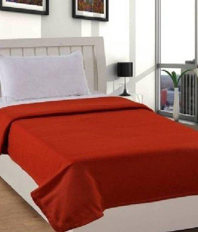 SPEED DECOR Plain Single Coral Blanket(Polyester, Red)